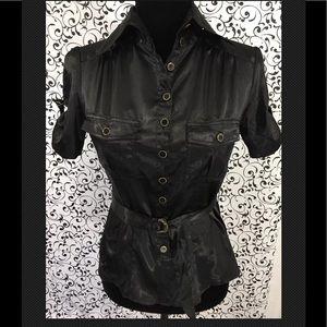 Be Mine Black button down blouse